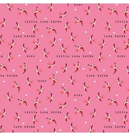 Riley Blake Fabrics Sending Love, Birds in Valentine Pink, Fabric Half-Yards C10083R