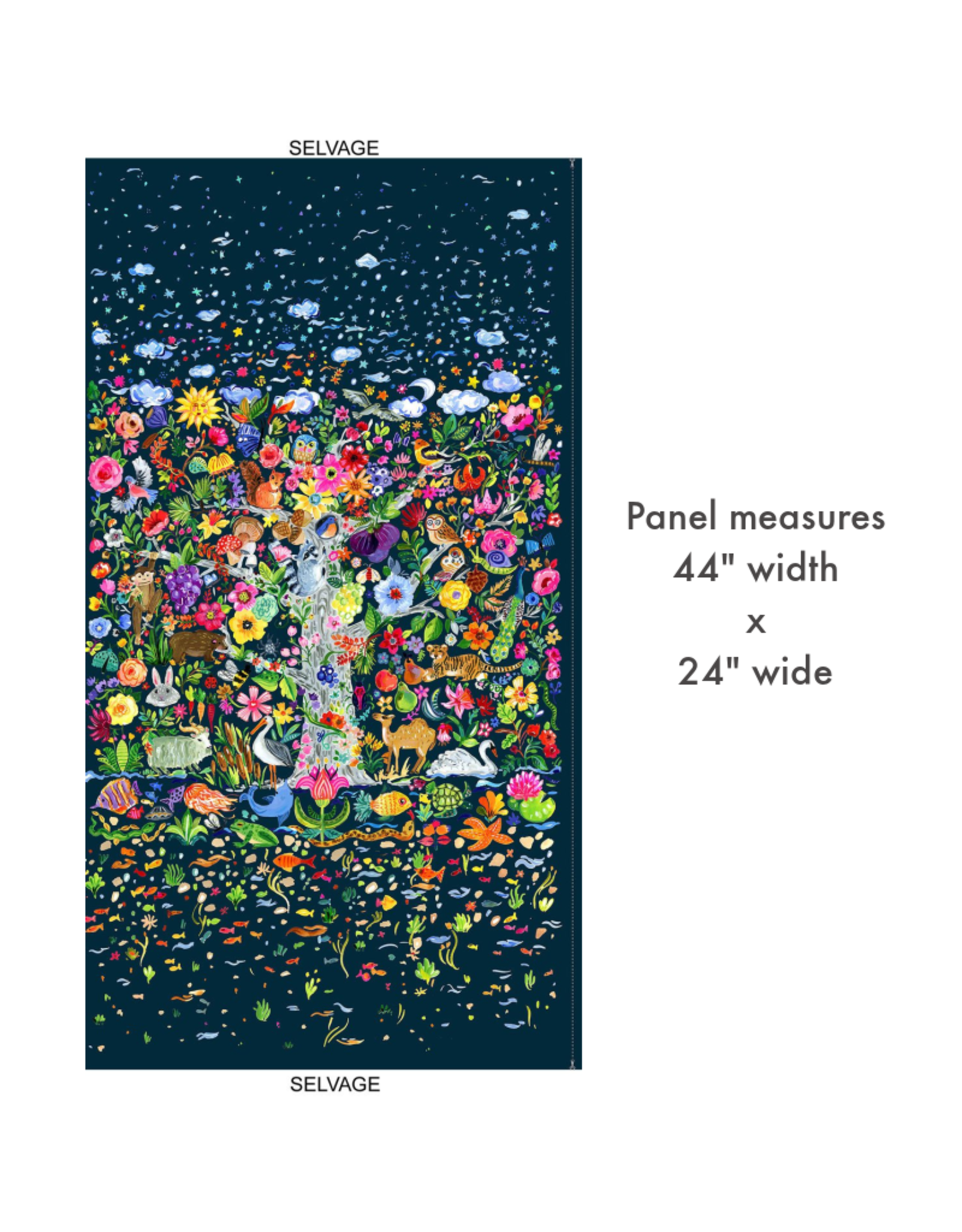 "August Wren Tree of Life Panel, 24"" x 44"" Fabric Panel STELLA-DJL1749"