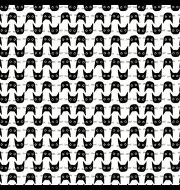 Dear Stella Les Chats Noirs, Cat Heads in White, Fabric Half-Yards STELLA-LW1770