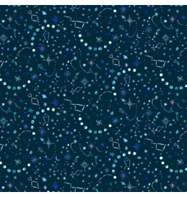 August Wren Tree of Life, Night Sky in Dark, Fabric Half-Yards STELLA-DJL1752