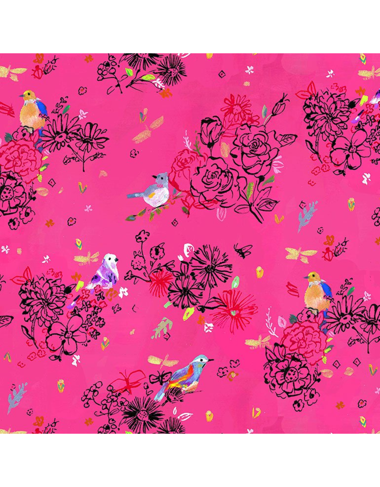 August Wren Tree of Life, Bird Floral in Pink, Fabric Half-Yards STELLA-DJL1753