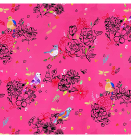 August Wren Tree of Life, Bird Floral in Pink, Fabric Half-Yards STELLA-DJL1753