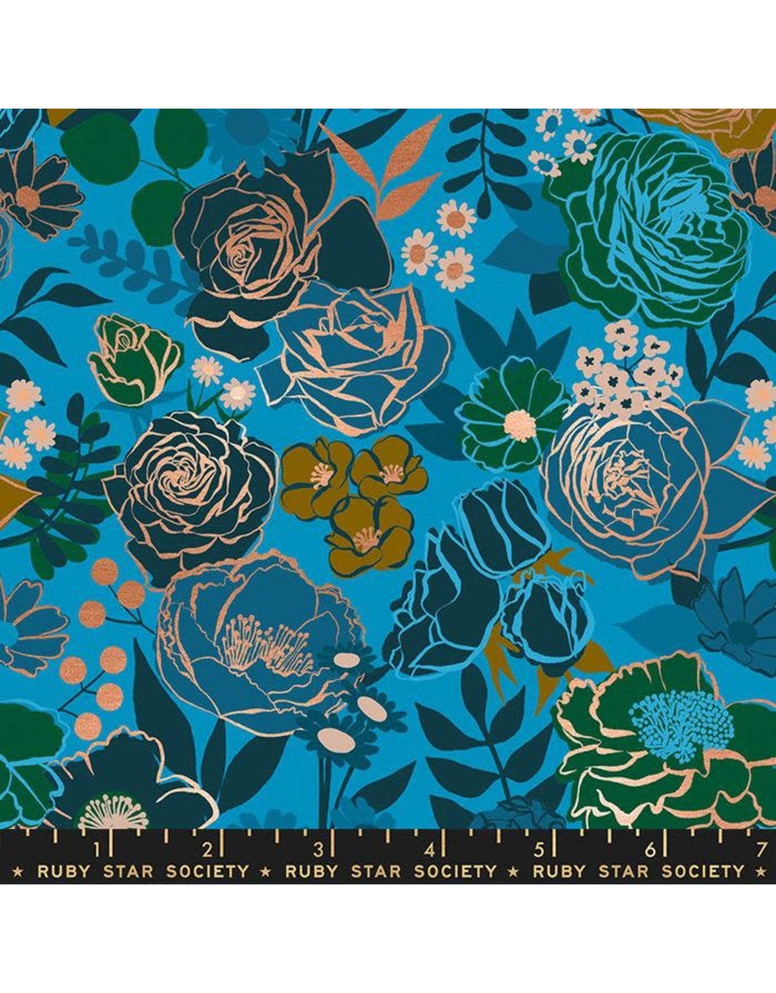 Melody Miller Ruby Star Society, Rise, Grow in Bright Blue with Metallic, Fabric Half-Yards RS0012 14M