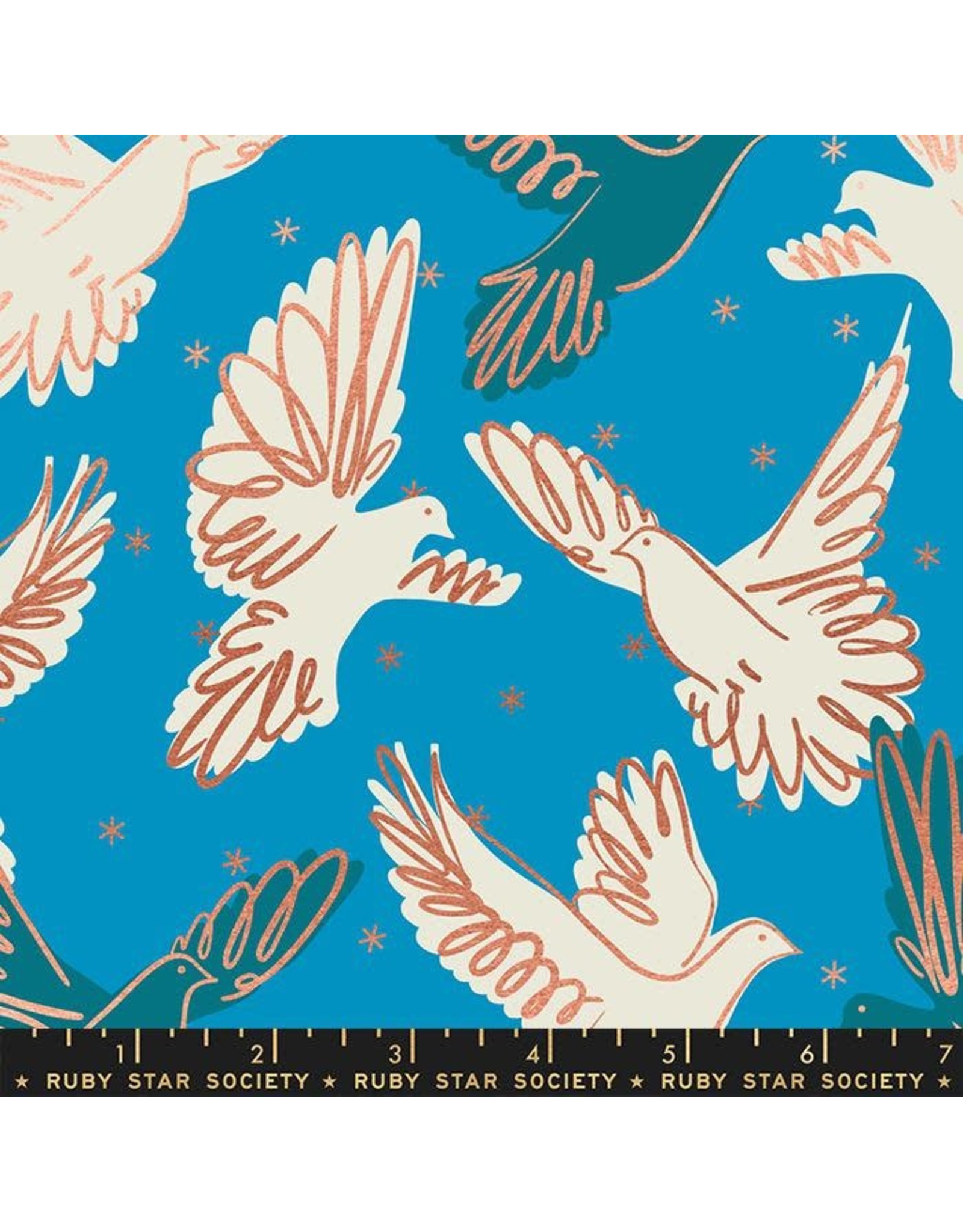 Melody Miller Ruby Star Society, Rise, Fly in Bright Blue with Metallic, Fabric Half-Yards RS0013 14M