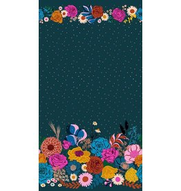 Melody Miller Ruby Star Society, Rise, Shine Double Border in Peacock with Metallic, Fabric Half-Yards RS0014 14M