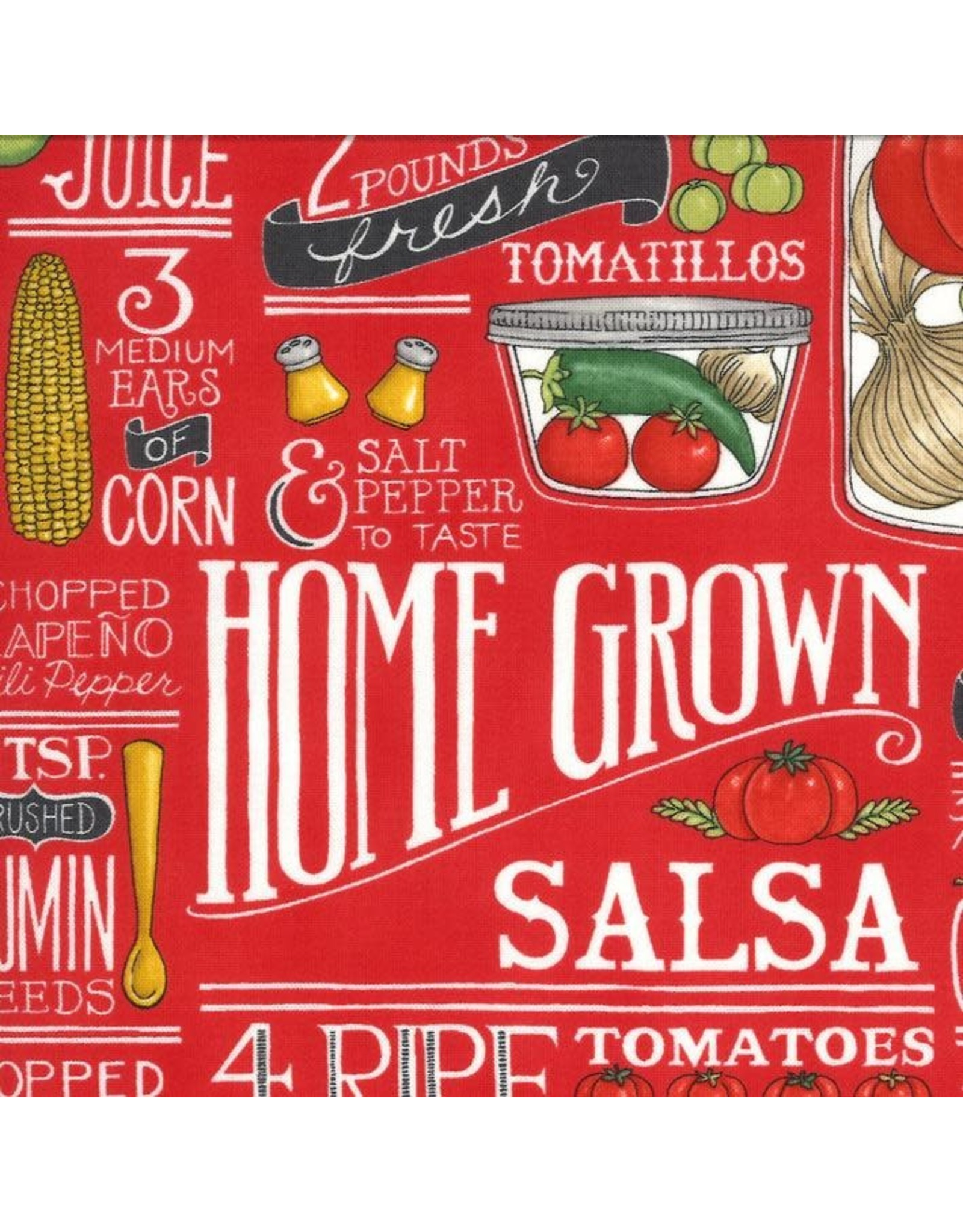 Moda Homegrown Salsa, Recipe in Tomato, Fabric Half-Yards 19970 12