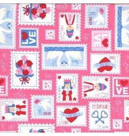 Moda Be Mine, Love Stamp in Sweetheart, Valentine Fabric Half-Yards 20712 13