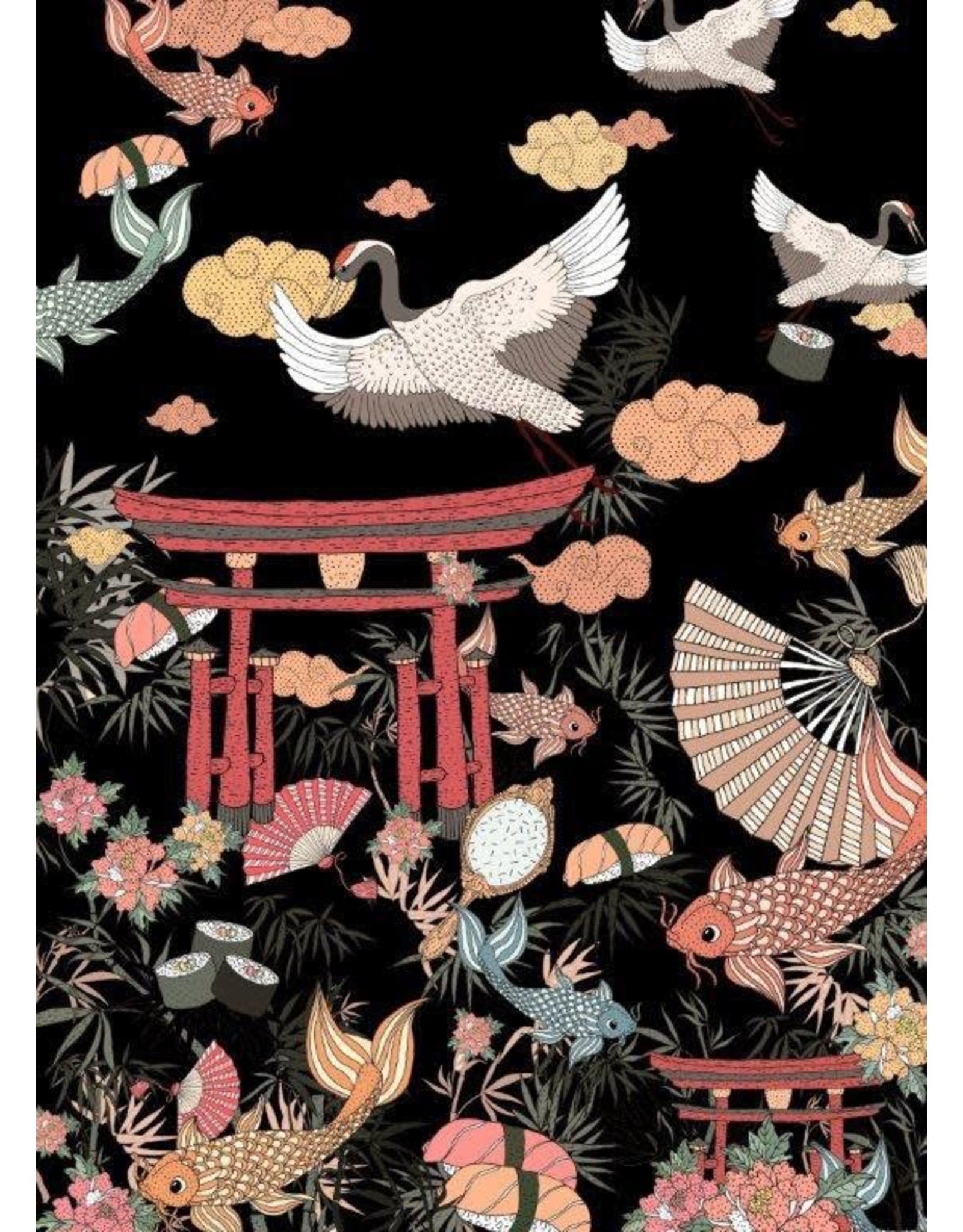 PD's Alexander Henry Collection Nicole's Prints, Lost in Tokyo in Black, Set of 2 Dinner Napkins
