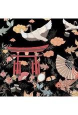 Alexander Henry Fabrics Nicole's Prints, Lost in Tokyo in Black, Fabric Half-Yards 8782D