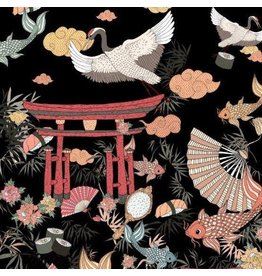 Alexander Henry Fabrics Nicole's Prints, Lost in Tokyo in Black, Fabric Half-Yards 8782D
