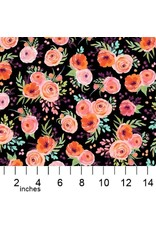Michael Miller Breakfast in Bed, Winter Bouquet in Black, Fabric Half-Yards DDC9595