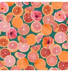 Michael Miller Breakfast in Bed, Grapefruit Parfait in Teal, Fabric Half-Yards DDC9597