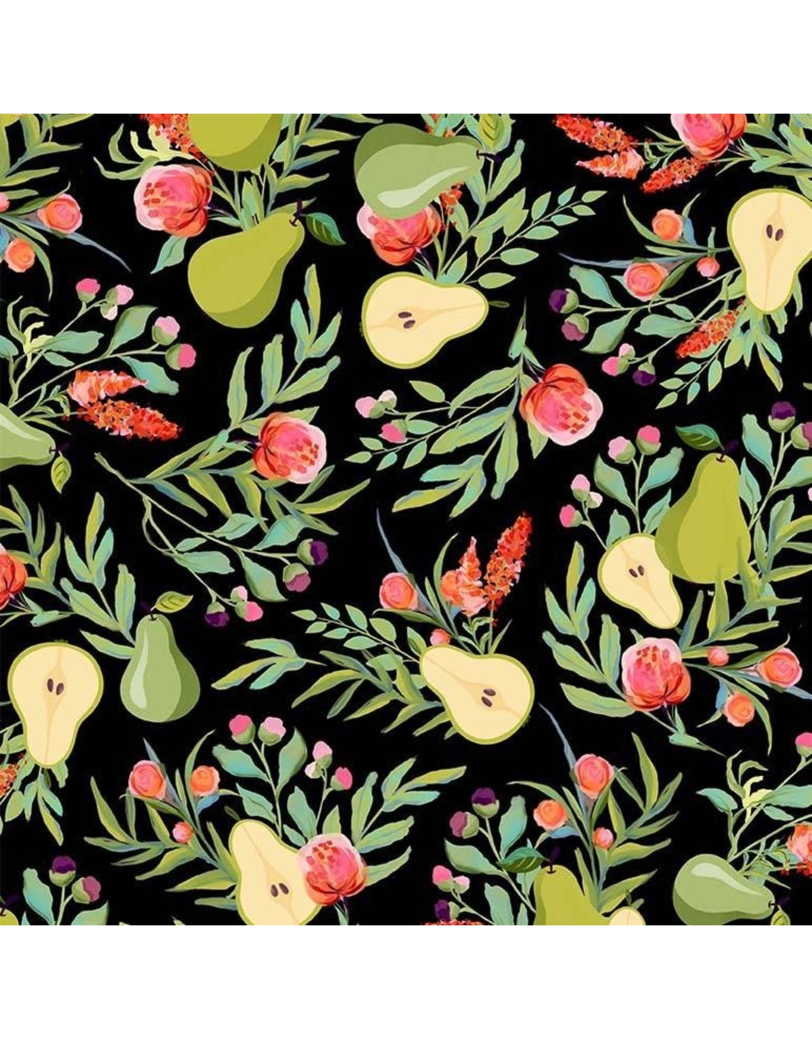 Michael Miller Breakfast in Bed, A Perfect Pear in Black, Fabric Half-Yards DDC9596