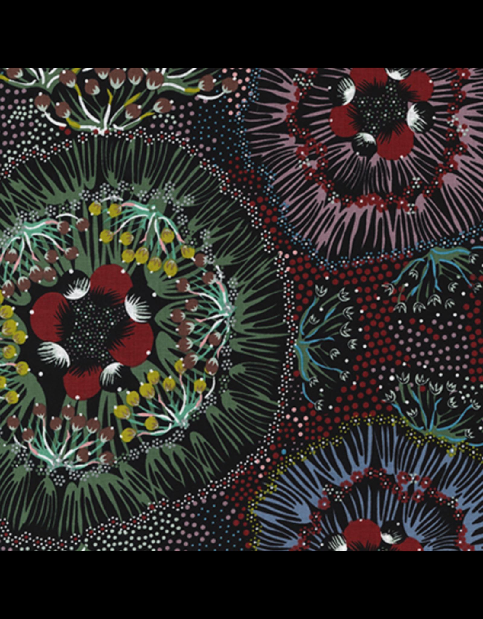 M&S Textiles Australia Aboriginal, Bush Plum in Black, Fabric Half-Yards BPB