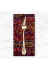 PD's Australian Aboriginal Collection Aboriginal, Gathering by the Creek in Burgundy, Dinner Napkin