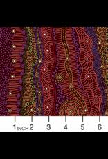 PD's Australian Aboriginal Collection Aboriginal, Gathering by the Creek in Burgundy, Dinner Napkin