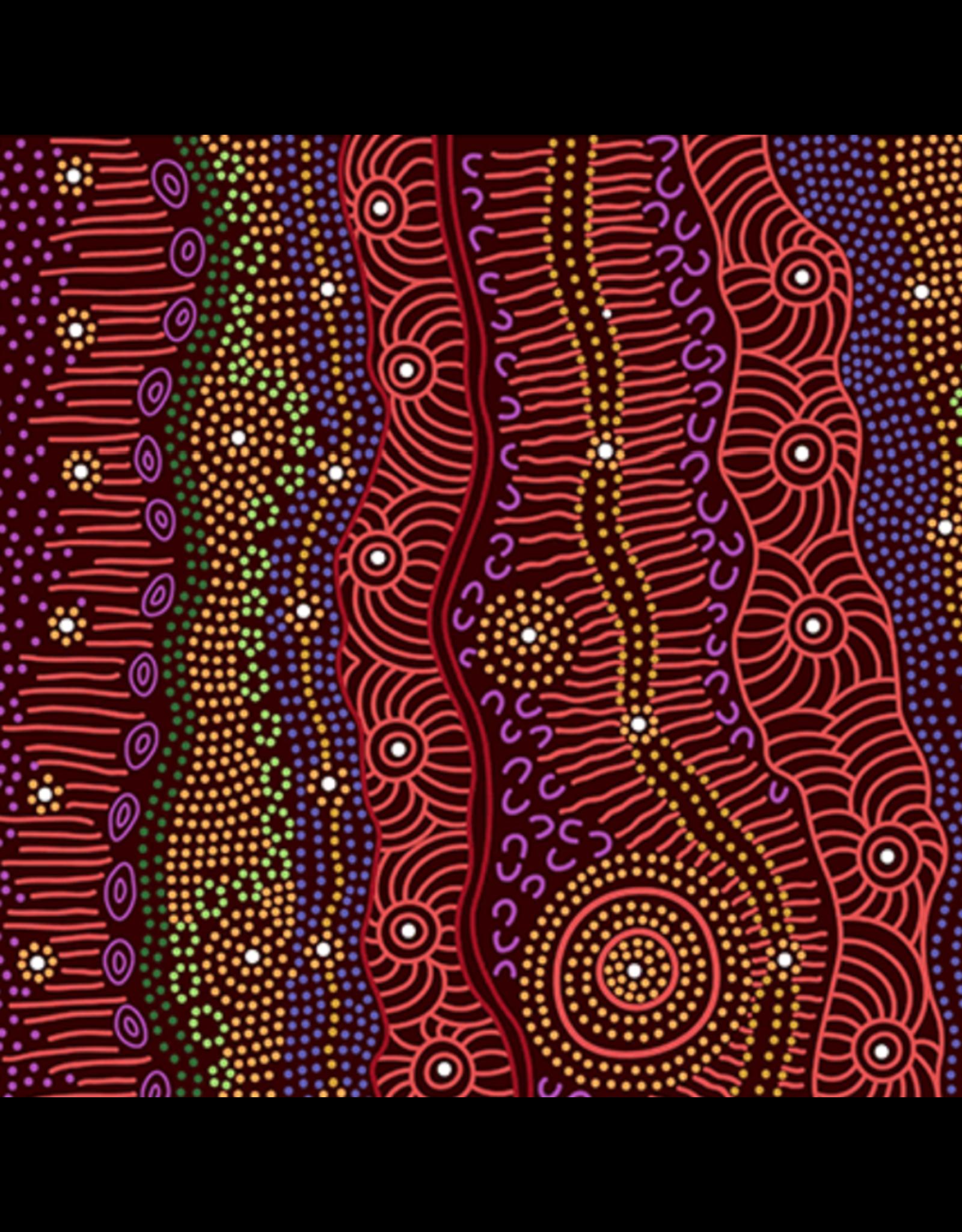 M&S Textiles Australia Aboriginal, Gathering by the Creek in Burgundy, Fabric Half-Yards GBCBU