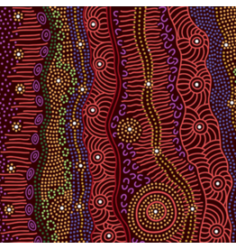 M&S Textiles Australia Aboriginal, Gathering by the Creek in Burgundy, Fabric Half-Yards GBCBU