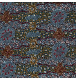M&S Textiles Australia Aboriginal, Lillup Dreaming in Ash, Fabric Half-Yards LDRA
