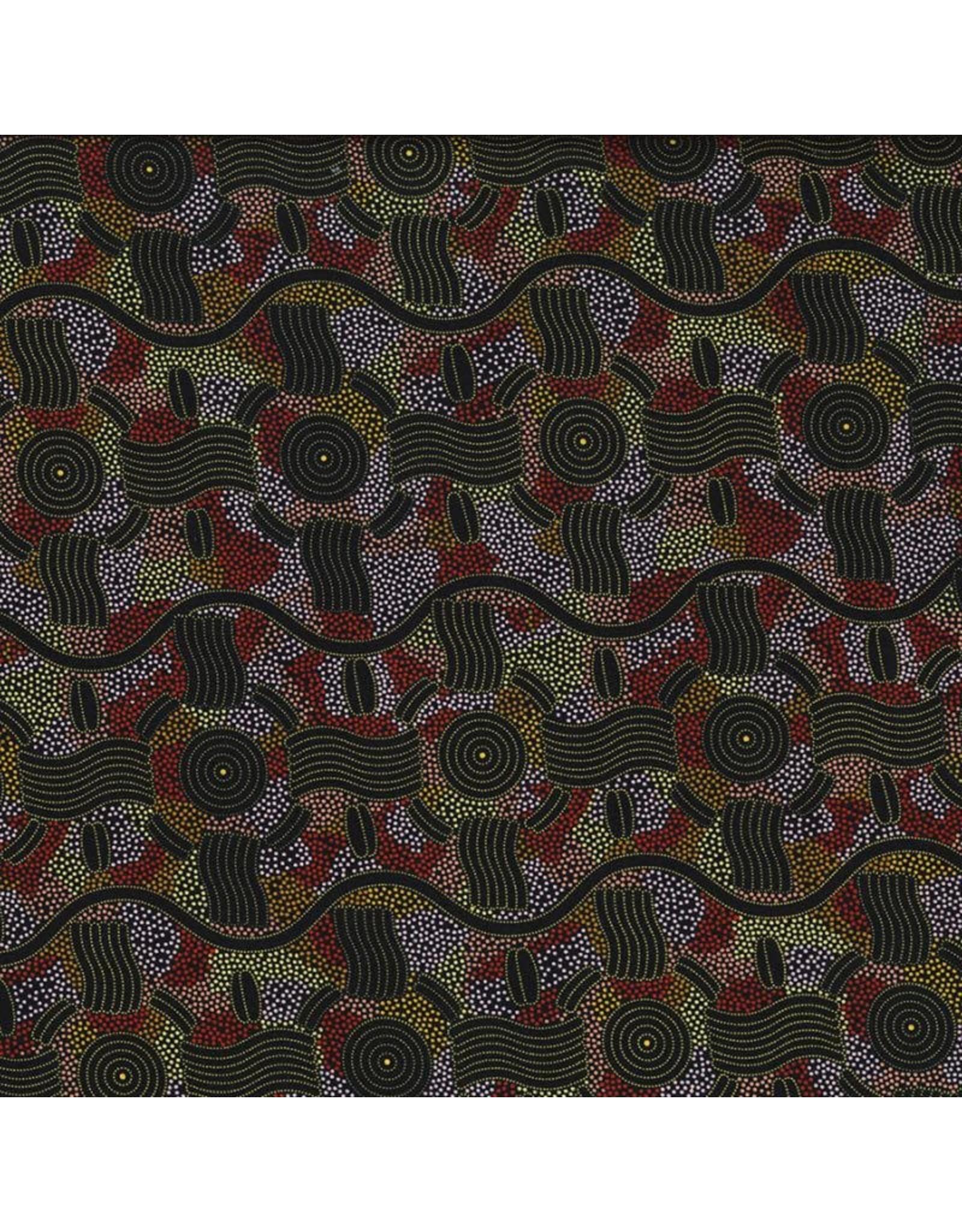 M&S Textiles Australia Aboriginal, Rain Dreaming in Gold, Fabric Half-Yards RAIDGO