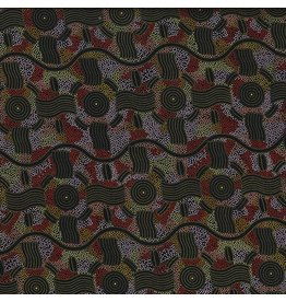 M&S Textiles Australia Aboriginal, Rain Dreaming in Gold, Fabric Half-Yards RAIDGO