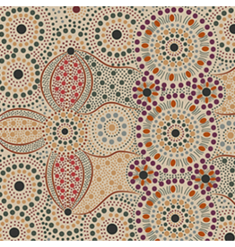 M&S Textiles Australia Aboriginal, Spirit Place in Ecru, Fabric Half-Yards SPEC