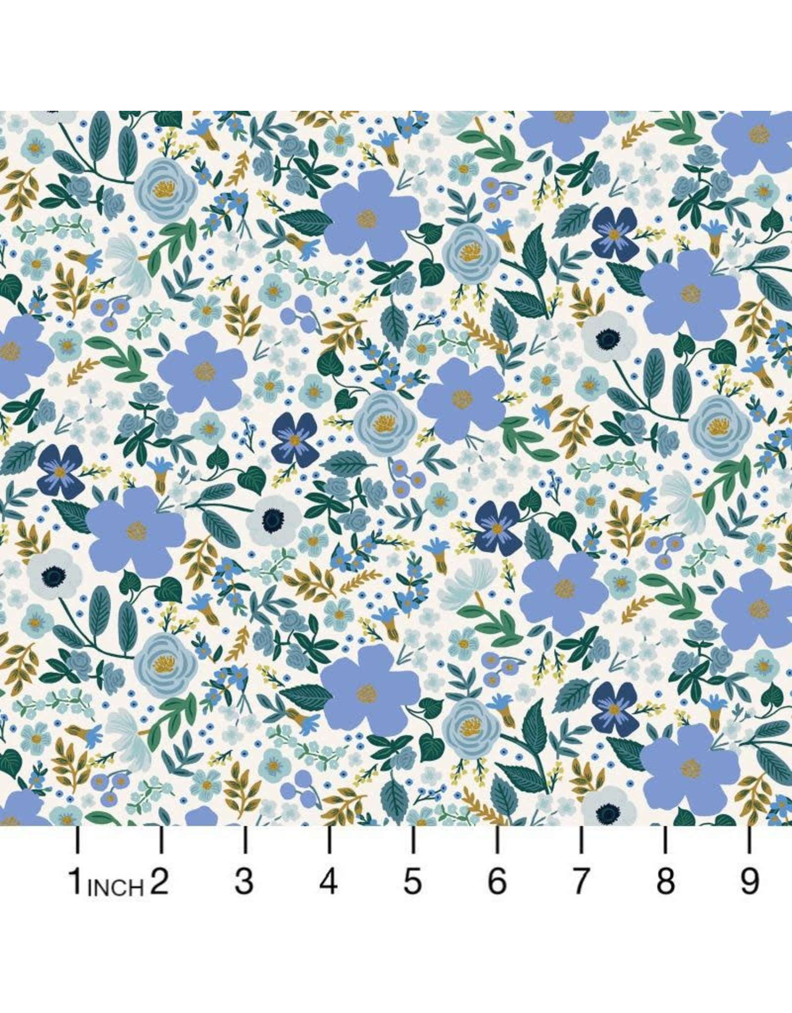 Rifle Paper Co. Garden Party, Wild Rose in Blue with Metallic, Fabric Half-Yards RP303-BL6M