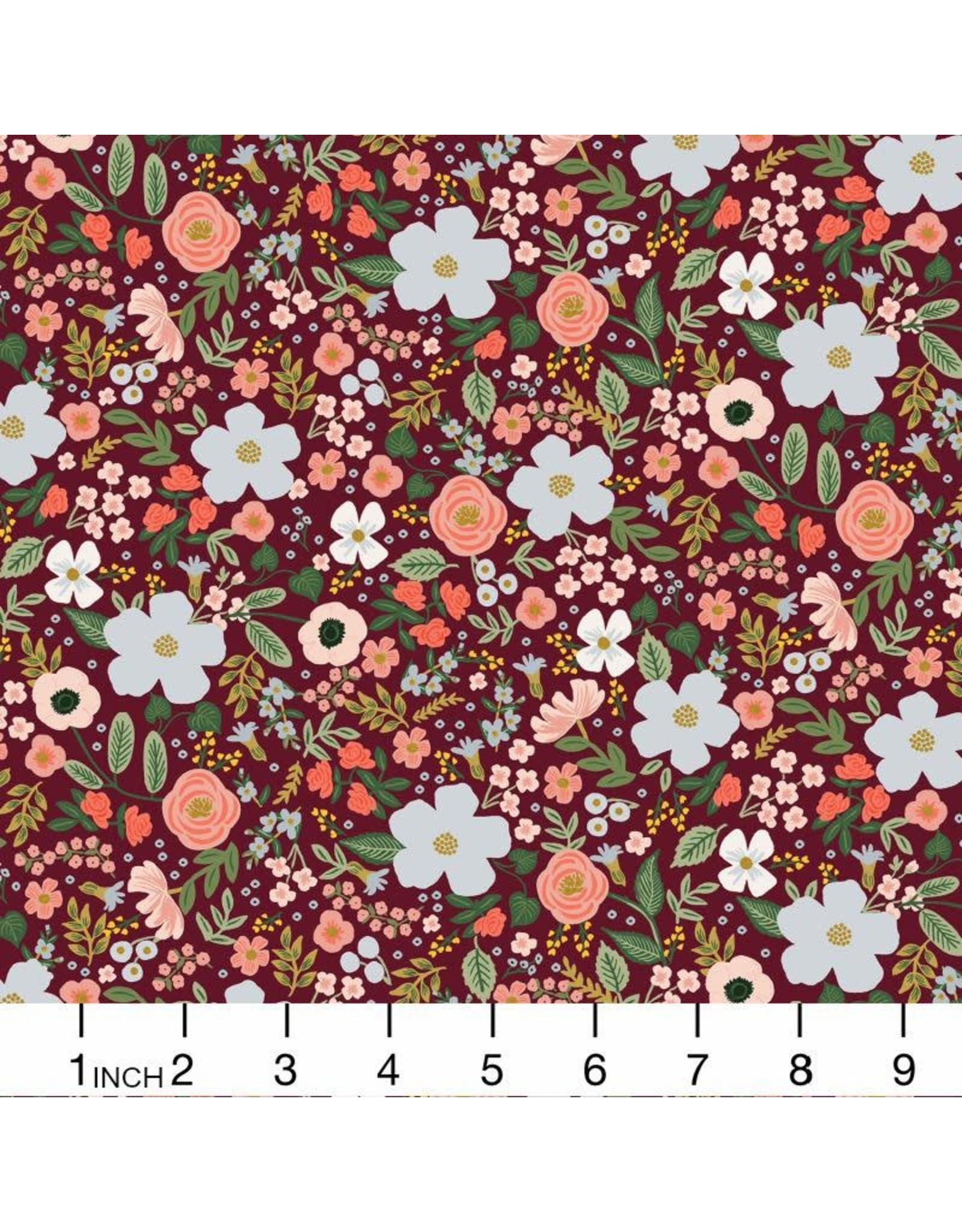 Rifle Paper Co. Garden Party, Wild Rose in Burgundy with Metallic, Fabric Half-Yards RP303-BU5M