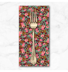 PD's Rifle Paper Co Collection Garden Party, Rosa in Burgundy with Metallic, Dinner Napkin