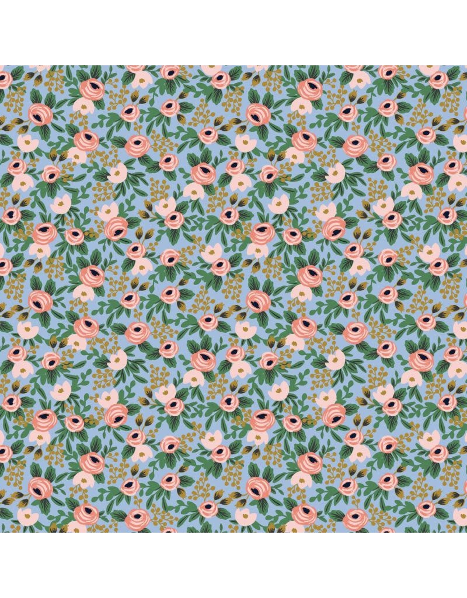Rifle Paper Co. Garden Party, Rosa in Chambray with Metallic, Fabric Half-Yards RP305-CH4M