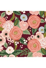 Rifle Paper Co. Linen/Cotton Canvas, Garden Party, Juliet Rose in Burgundy, Fabric Half-Yards RP520-BU1C