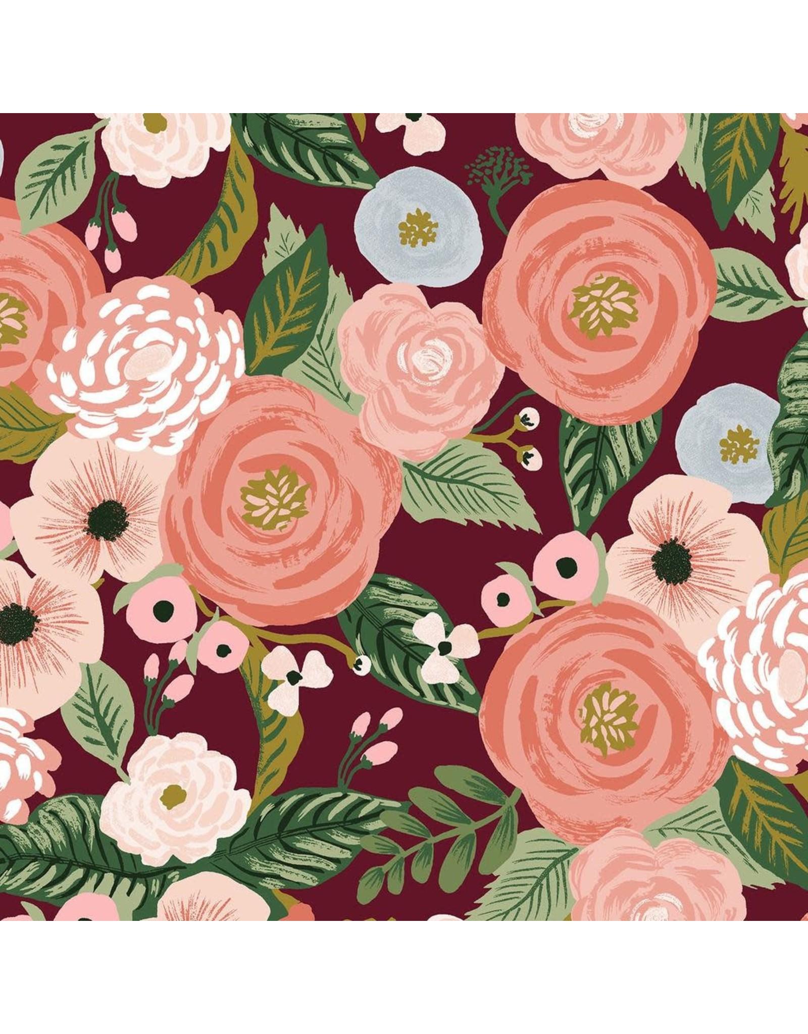 Rifle Paper Co. Linen/Cotton Canvas, Garden Party, Juliet Rose in Burgundy, Fabric Half-Yards RP520-BU1C