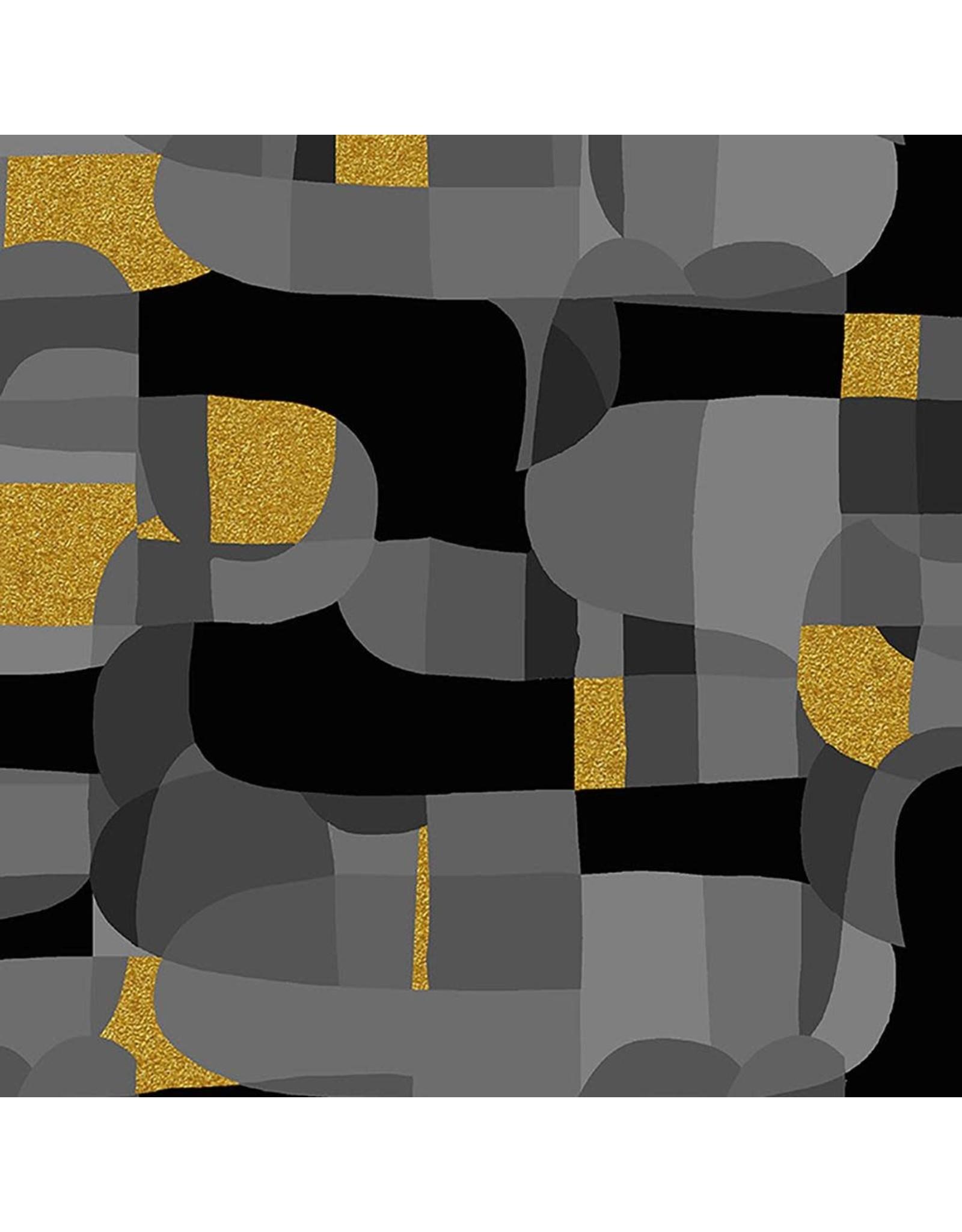 RJR Fabrics Shiny Objects, Glitz and Glamour Abstrct in Black with Gold Metallic, Fabric Half-Yards RJ2800-BK1M