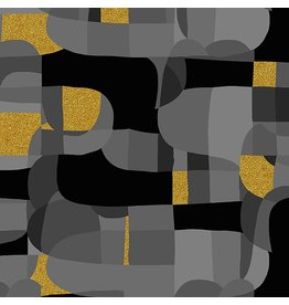 RJR Fabrics Shiny Objects, Glitz and Glamour Abstrct in Black with Gold Metallic, Fabric Half-Yards RJ2800-BK1M