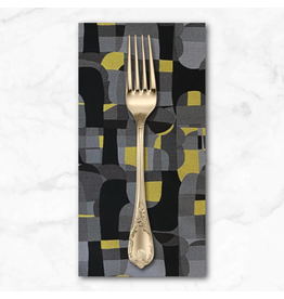 PD's RJR Collection Shiny Objects, Glitz and Glamour Abstrct in Black with Gold Metallic, Dinner Napkin