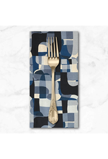 PD's RJR Collection Shiny Objects, Glitz and Glamour Abstrct in Deep Ocean with Silver Metallic, Dinner Napkin
