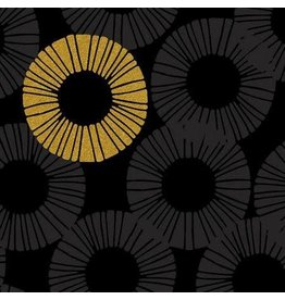 RJR Fabrics Shiny Objects, Glitz and Glamour Eclipse in Graphite with Gold Metallic, Fabric Half-Yards RJ2802-GR1M