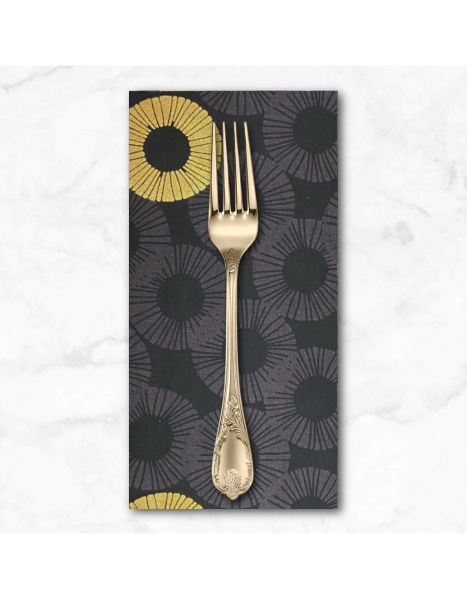 PD's RJR Collection Shiny Objects, Glitz and Glamour Eclipse in Graphite with Gold Metallic, Dinner Napkin