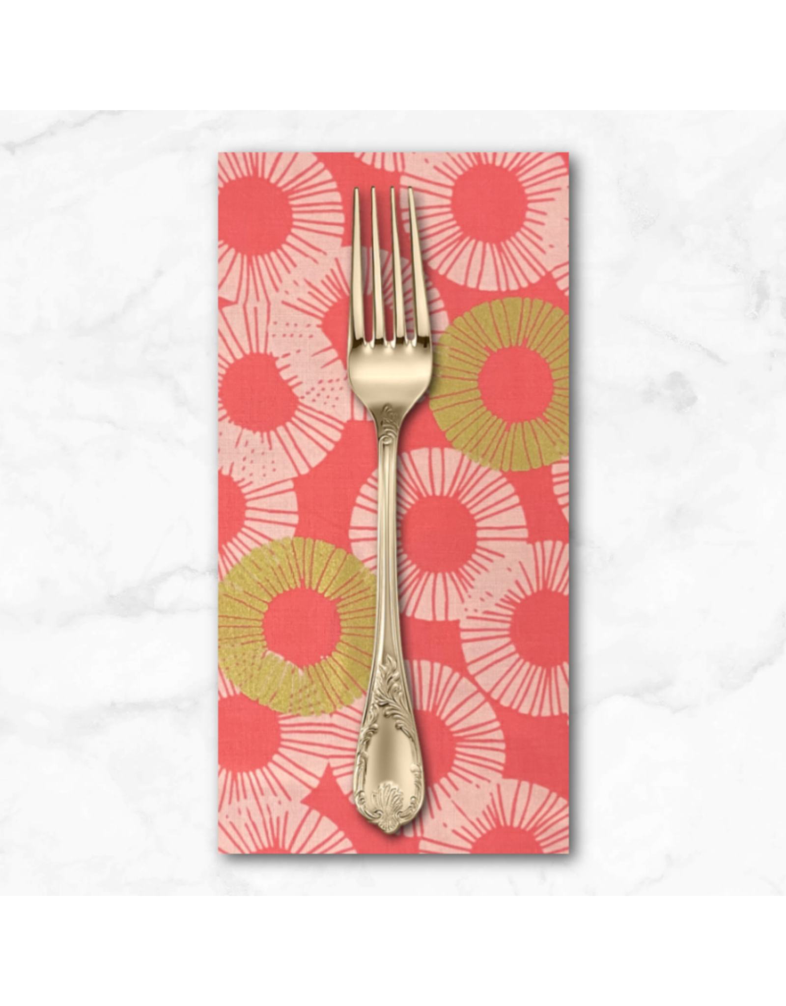 PD's RJR Collection Shiny Objects, Glitz and Glamour Eclipse in Pink Paradise with Gold Metallic, Dinner Napkin