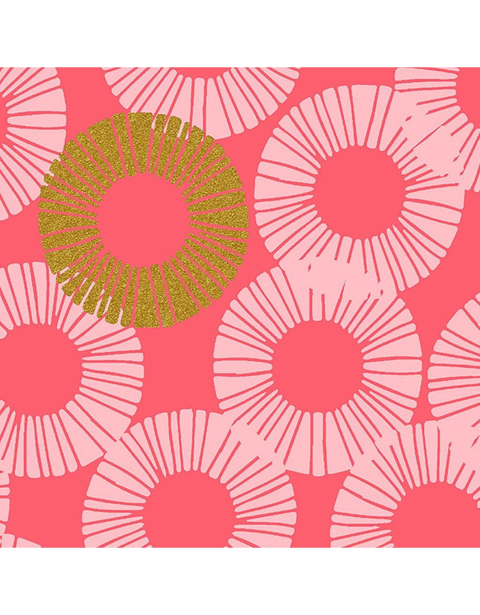 RJR Fabrics Shiny Objects, Glitz and Glamour Eclipse in Pink Paradise with Gold Metallic, Fabric Half-Yards RJ2802-PP2M