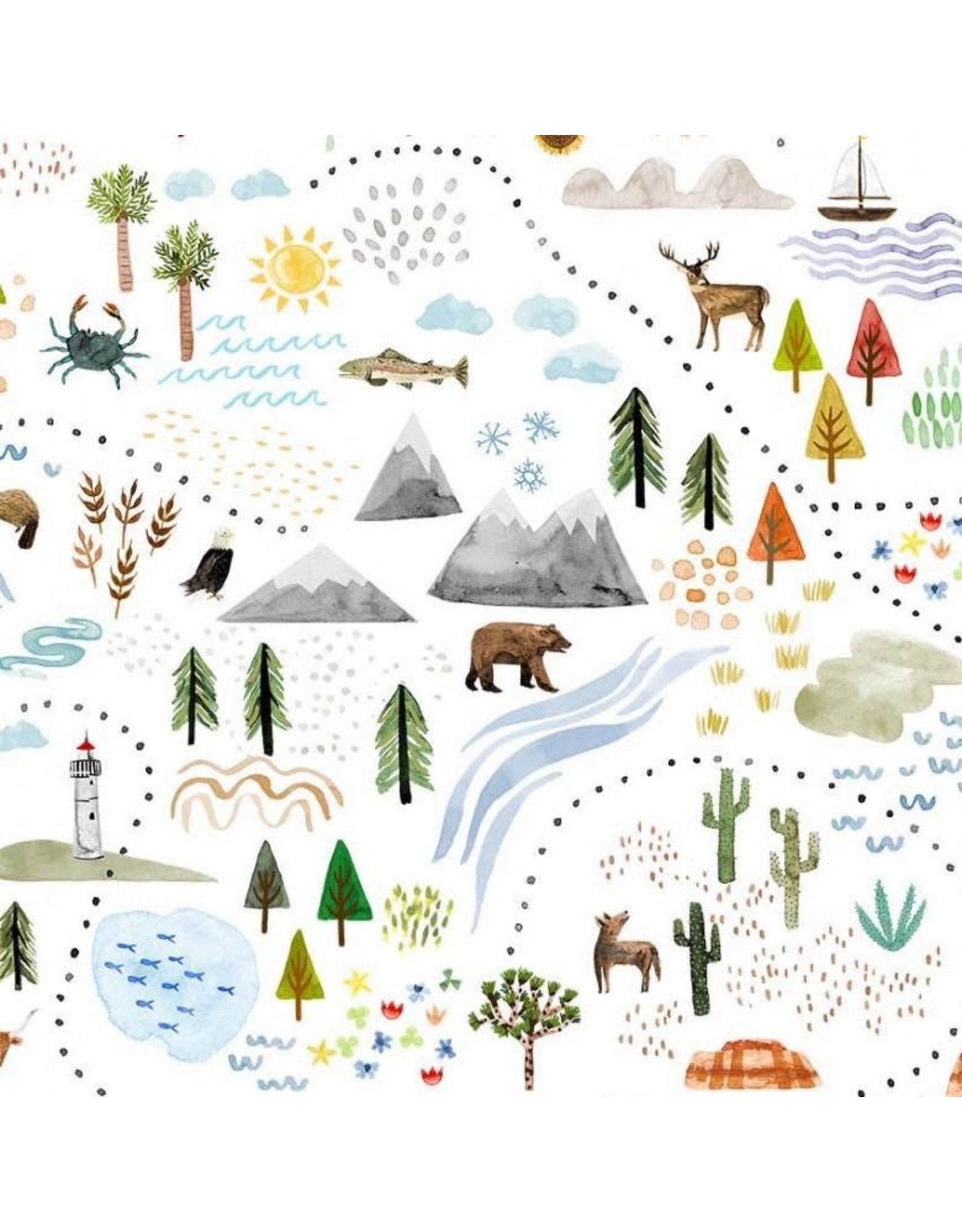 Michael Miller Coast to Coast, Shore to Shore in White, Fabric Half-Yards DDC9805
