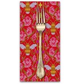 PD's Alison Glass Collection Handiwork, Beadwork in Scarlet, Dinner Napkin