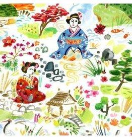 August Wren Tokyo Dreams, Kyoto Garden in White, Fabric Half-Yards STELLA-DAW1393