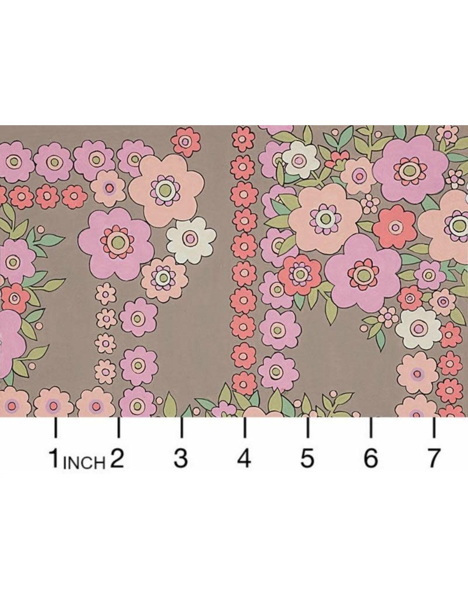 Alexander Henry Fabrics ON SALE-The Ghastlies, A Ghastlie Bouquet in Gray Pink, Fabric FULL-Yards