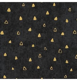 "Robert Kaufman Gustav Klimt, Gold Triangles in Black, Fabric Half-Yards SRKM-17182-2 (ONE 29"" PIECE REMAINING)"