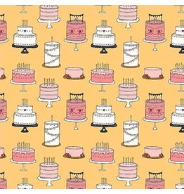 Michael Miller Celebrate, Cake Tiers in Mango, Fabric Half-Yards DH8815
