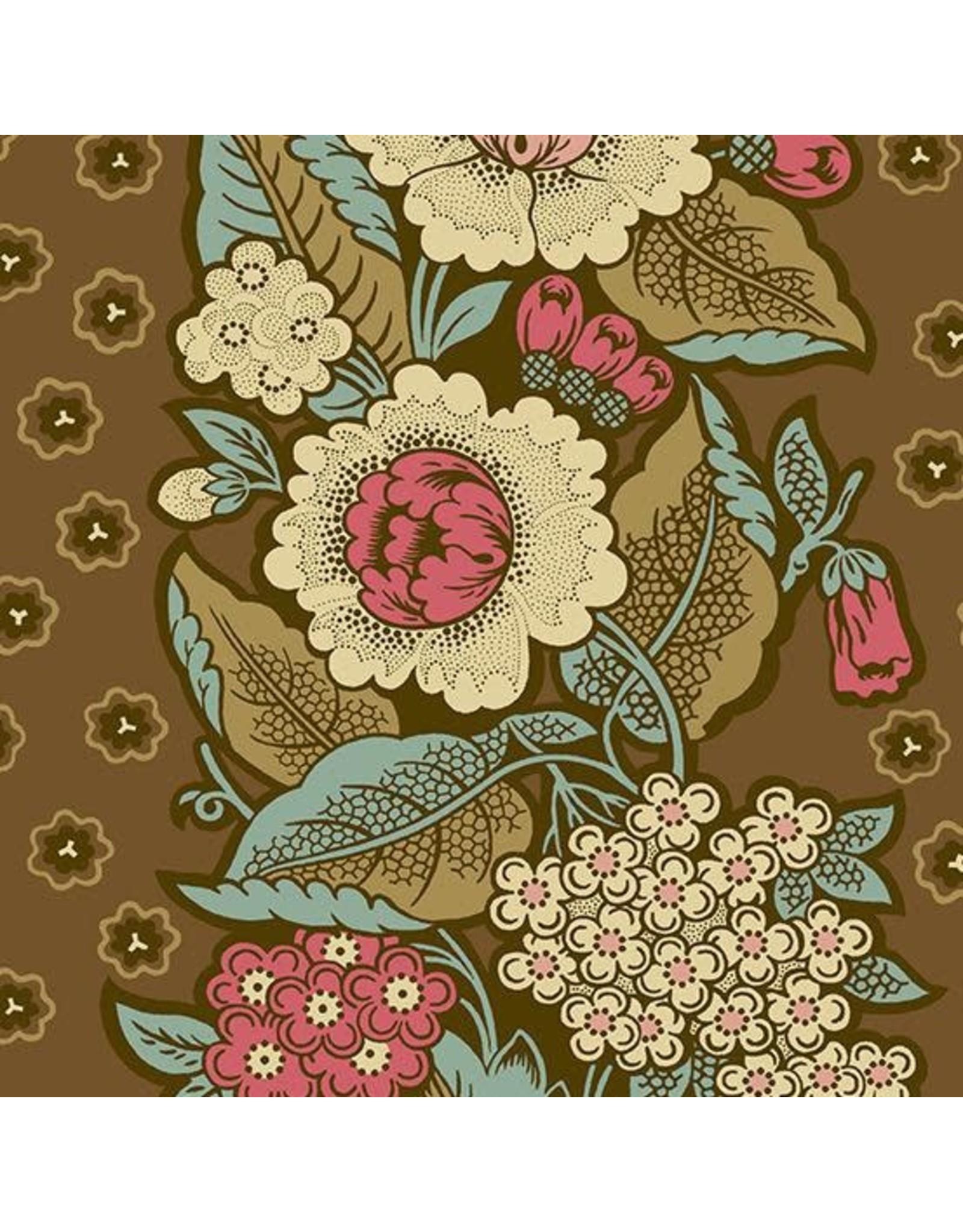 Andover Fabrics ON SALE-Chesapeake, Bouquet in Dark Khaki, Fabric FULL-Yards