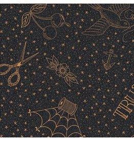 Libs Elliott Almost Blue, Draw in Asphalt with Metallic, Fabric Half-Yards A-9348-MO