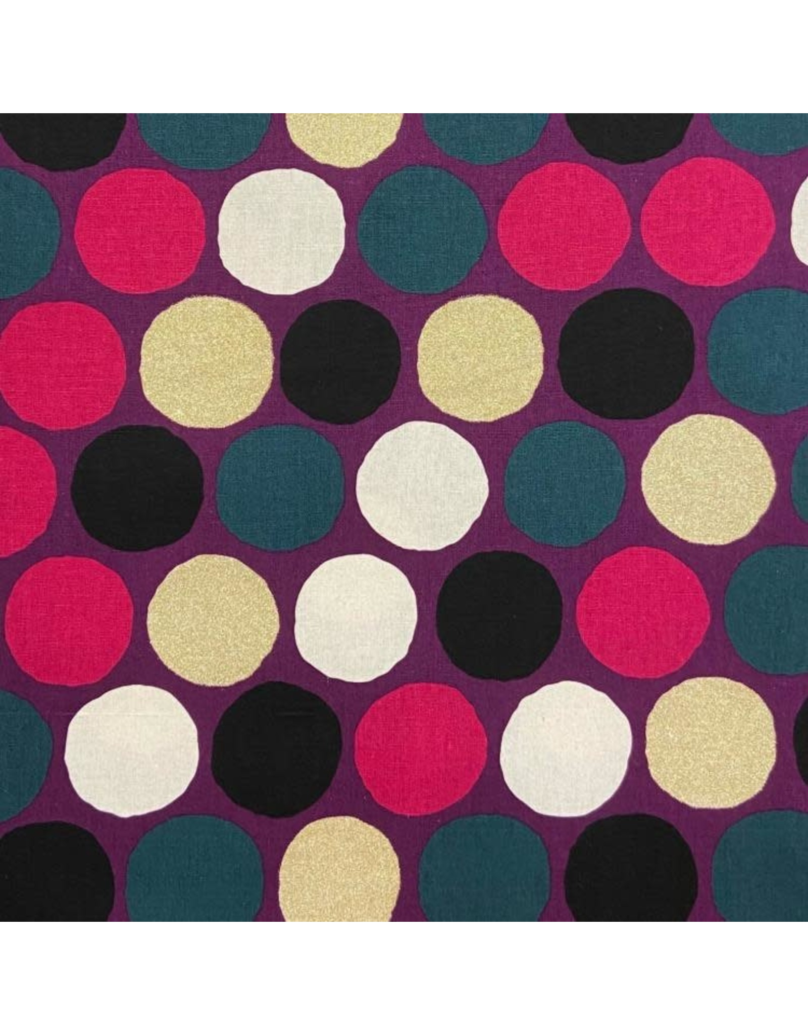 Japan Import Linen/Cotton Canvas, Cosmo Japan, Big Dot in Magenta with Gold Metallic, Fabric Half-Yards AP-92912-B