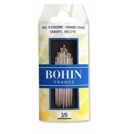 Bohin Big Eye Sharps Needles, Assorted Sizes 3/9 - 15 ct.